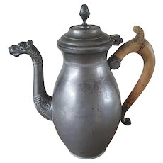 18th Century dragon Spouted coffee pot Pewter