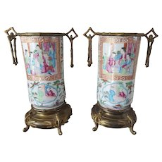 Pair Bronze Mounted Famille Rose Vases 19th Century
