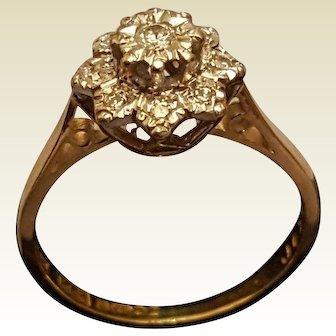 A Vintage Solid 18 karat Gold Diamond Cluster Ring