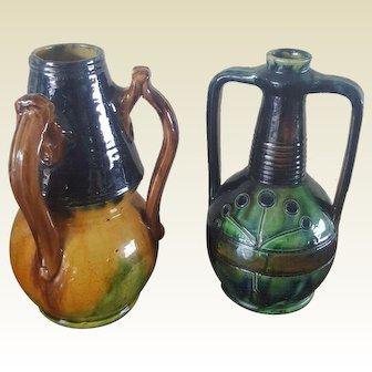 Art nouveau high glaze ceramic Flemish pottery vases ca 1910
