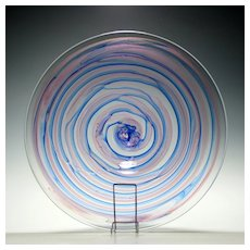 Extremely Rare Isle of Wight Michael Harris Pink and Blue Swirls Glass Charger c1975