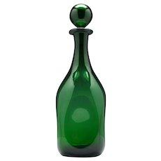 Large Dimpled Empoli Verde Decanter c1965