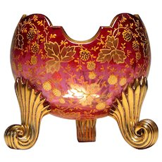 Moser Gilded Glass Pillow Vase c1900