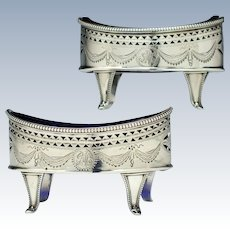Pair of Georgian Silver Salts with Blue Liners 1787
