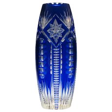 Tall French Blue Cased & Cut Glass Vase c1920