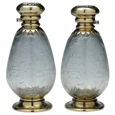 Pair of Victorian Silver Topped Perfume Bottles London 1899