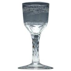 Order Of The Garter Facet Cut Stem Wine Glass c1790