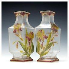 Pair of Large Baccarat Enamelled Vases c1900