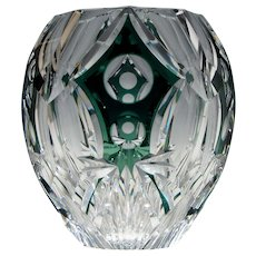 Large Signed Val St Lambert Cased Cut Glass Vase c1955