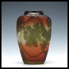 Large Galle Three Colour Cameo Vase c1905