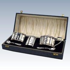 Silver Cruet Set In Case Birmingham c1970