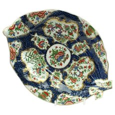 First Period Worcester Porcelain Blue Scale Leaf Dish c1770