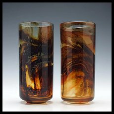 Pair of Mdina Tortoiseshell Glass Vases c1975