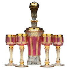 Bohemian Gilded Decanter and Glasses 1900