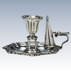 Early Victorian Silver Chamberstick Sheffield 1840