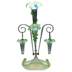 A Fine Three Horn Two Basket Opalescent Glass Epergne