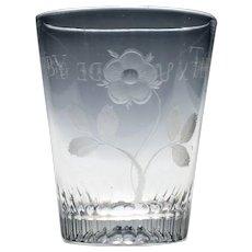 Derby Tribute Engraved Georgian Glass Tumbler c1820