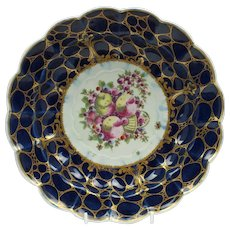 Rare Worcester Porcelain Spotted Fruit Dessert Plate With Caillouté Border c1780