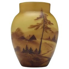 French Painted Landscape Cased Glass Vase c1925