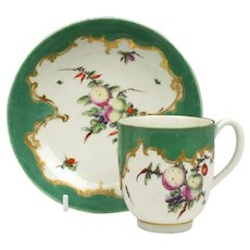 Worcester Spotted Fruit Coffee Cup and Saucer c1770