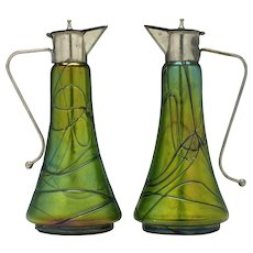 Pair of Green Kralik Spirit Or Liqueur Jugs c1900