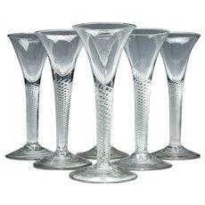 Six Georgian Air Twist Wine Glasses c1750