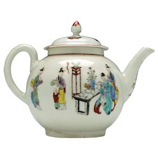 First Period Worcester Mandarin Tall Table Pattern Teapot c1770
