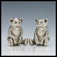 Silver Teddy Bear Salt and Pepper Cruets Birmingham 1909