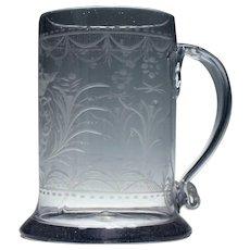 Engraved 18th Century Quart Glass Tankard c1790