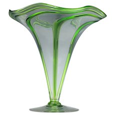 Stuart & Sons Art Nouveau Green Trailed Vase