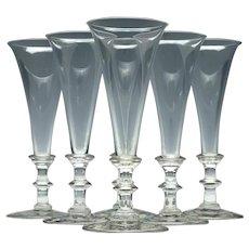 Set of Six Regency Champagne Flutes c1830