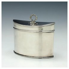 Navette Shaped Sterling Silver Tea Caddy London 1920