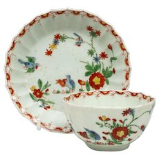 Rare Fluted Worcester Two Quail Pattern Teabowl and Saucer c1765