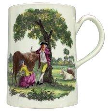 Worcester Porcelain Milking Scene -Rural Lovers Pattern Mug c1765