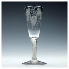 Engraved Georgian Opaque Twist Ale Glass c1760