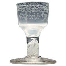 Rare Masonic Engraved Terraced Foot Opaque Twist Dram Glass c1760