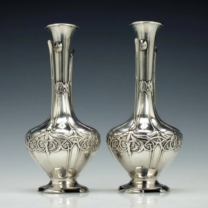 Pair Of Wmf Art Nouveau Stem Vases 1910 Sold Ruby Lane