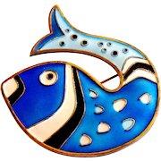 Signed David Andersen Norway Blue Enamel Fish Brooch c. 1960