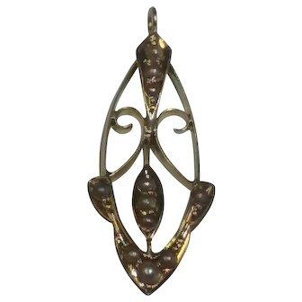 Vintage 14kt seed pearls Lavalier pendant