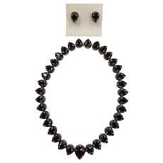Vintage Bohemian Garnet & Marcasite Necklace/Earrings