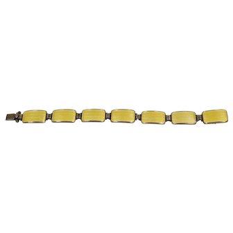 Vintage Sterling Yellow Enamel Bracelet