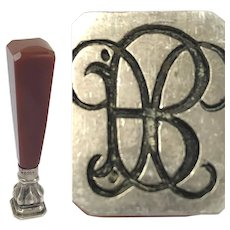 Wax stamp, Wax Seal - Agate, Silver - Approx. 1890 - Germany
