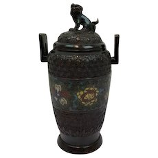 Bronze champlevé covered jar - Japan - late 19th century