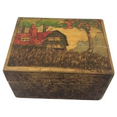 Folk Art: Tea Caddy - Pyrography - Wood - Ca. 1900