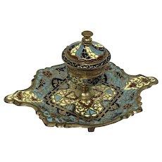 Cloisonne enamel inkwell - Bronze, Enamel - Ca. 1880- France
