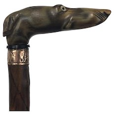 Walking stick with handle in the shape of a greyhound dog made from buffalo horn - Rosewood, Brass, Buffalo horn - Approx. 1900