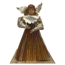 Christmas angel with wax head - in box - Paper - France - Approx. 1900