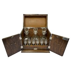 English liqueur cellar with silver-plated elements and complete interior - Mahogany, Silver-plated, Glass - Circa 1890