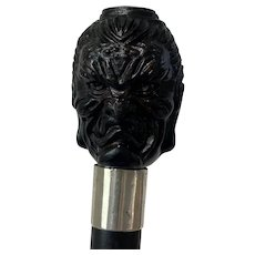 "Walking stick with two faces Buddha ""Happy & Angry"" - Wood, Silver - Approx. 1930"
