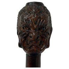 "Walking stick with two faces Buddha ""Happy & Angry"" - Wood - Approx. 1930"